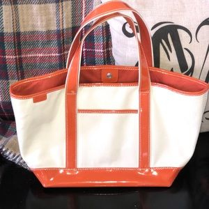 Cute!! Lands End tote!!Patentleather orange/canvas